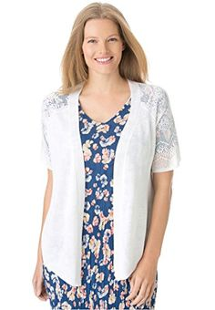 Womens Plus Size Open Front Short Sleeve Pointelle Cardigan Sweater WhiteL >>> You can find more details by visiting the image link.