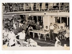 Vintage 5x7 Photo Lots Of People Having Fun On Cruise Ship, May16
