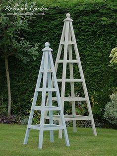 Windsor Bespoke Wooden Garden Obelisk handcrafted by Robinson Garden - Farrow & Ball paint Obelisk Trellis, Garden Trellis, Tomato Trellis, Farrow And Ball Paint, Farrow Ball, Garden Art, Garden Design, Organic Gardening Catalogue, Garden Online