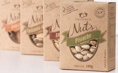 Empório Nuts Packing by Guilherme Boschi, via Behance I loathe the unnecessary apostrophe, but I like the idea of the packaging Cereal Packaging, Biscuits Packaging, Kraft Packaging, Organic Packaging, Seed Packaging, Cookie Packaging, Food Packaging Design, Paper Packaging, Packaging Design Inspiration