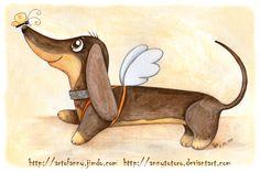Dachshund Clube: what I think my dachshunds are doing in heaven Basset Dachshund, Arte Dachshund, Dachshund Love, I Love Dogs, Cute Dogs, Weenie Dogs, Doggies, Scottish Terrier, Dog Art