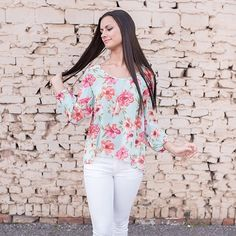 Sheer Floral Top - 3 colors Perfect for spring! Relaxed fit and can go with just about anything! Available in navy, light blue, and ivory. Tops Blouses