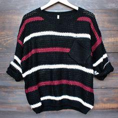 chunky oversized stripe knit boyfriend sweater in black