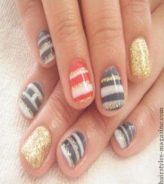 strips short nails1 20 Cute Nail Art Designs for Short Nails