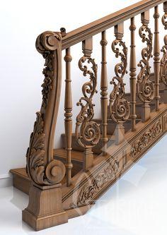 """Деревянная лестница на базе стандартных моделей из каталога компании """"Ставрос"""". Использованы: L-001, L-034, L-056, N-234."""