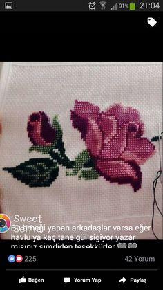 Creative Embroidery, Bargello, Leaf Tattoos, Cross Stitch Patterns, Cross Stitch Rose, Embroidered Towels, Cross Stitch Embroidery, Crochet Stitches, Roses