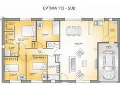 plan maison plain pied 3 chambres 110m2