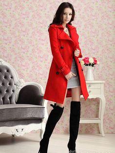 Red Slim Warm Winter Wool Woolen jacket outwear Long Trench coats Pea Coats