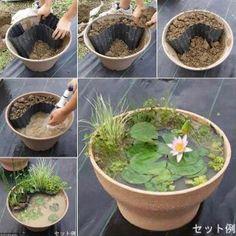 Diy Pond In Bucket Garden Water Features Metal Containers Garden