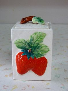 Cute 1950's Strawberry Jam Jar... A thrift store find, and for some reason I am addicted to collecting jelly/sugar jars!!!