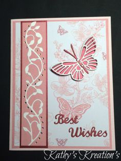 Memory Box Butterflies, Kaleidoscope and Moonlight, Vine Boarder. Best Wishes by Elizabeth Craft Design.  Paper is from S.E.I. collection. Crystals by Recollections