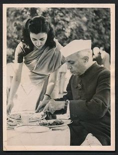 Indira Gandhi with her father Jawahar Lal Nehru