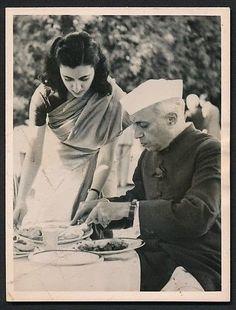 Indira Gandhi with her father Jawahar Lal Nehru
