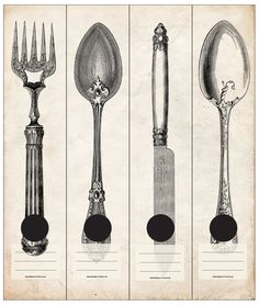 Vintage cutlery in black on a crumpled paper background. Self-adhesive Lever Arch labels. 4 different labels in a packet.