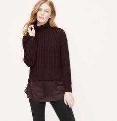 Mock Neck Cable Sweater | Loft