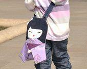 FREE SHIPPING! Handbag Japanese Doll, Lilac Kimono with Flowers of Chrysanthemums