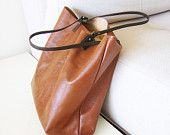 Reddish Brown Rustic Leather Book Bag, tote, urban chic, hand stitched, caramel, cinnamon, sienna, carry-all, shoulder bag, 14x14