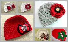Ohio State Baby Girl, OSU Buckeye Crochet Hat,  OSU Flower Hat - Made to Order - Scarlet and Gray - Newborn, Up to 12 Months. $26.00, via Etsy.