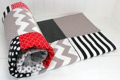 Baby Blanket, Unisex, Nursery Decor, Photography Prop, Minky Blanket, Nursery Blanket, Chevron Nursery, Black, Red, Gray, Grey, Chevron
