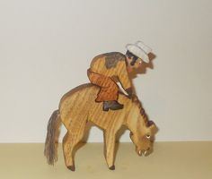 Cowboy on Bronco / Wood toy Animal and Rider / Rodeo