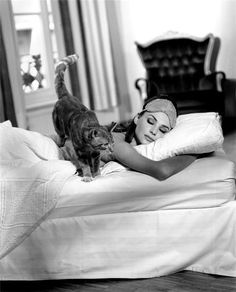 Audrey Hepburn and Cat in Breakfast at Tiffany's