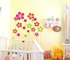 Uniquely Children Bedroom Home Decor Mural Vinyl Wall Sticker Beautiful Red Pink Flowers Kids Nursery Wall Art Decal Paper >>> This is an Amazon Affiliate link. See this great product.