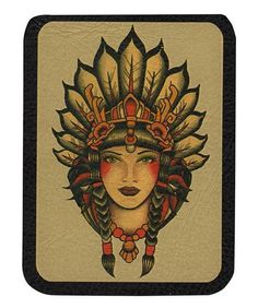 Indian Girl by Lil Chris Leather Patch Native American Headress Tattoo Applique