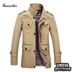 Plus Size Business Casual Thin Multi Pockets Solid Color Epaulets Jacket for Mensales-NewChic Mobile Trench Coat Men, Trench Jacket, Hooded Jacket, Jacket Men, Business Casual Men, Men Casual, Plus Size Business, Mens Windbreaker, Long Jackets