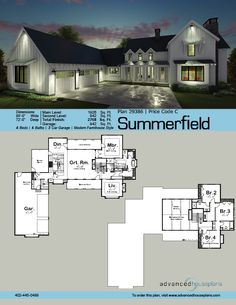29386 Summerfield The great expanses of this L-shaped, 1.5-story, Modern Farmhouse plan are highlighted by three separate outdoor living areas -- a covered fro