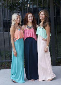 Mint Ruffle Top Pink Maxi Dress http://modernvintageboutique.com/item_596/Mint-Ruffle-Top-Pink-Maxi-Dress.htm#
