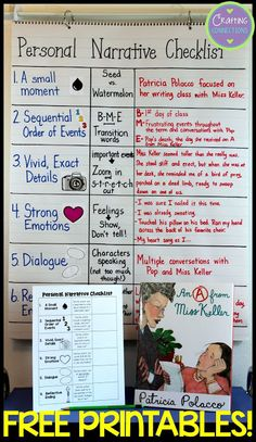 An A From Miss Keller Freebies: A Mentor Text for Writing Personal Narratives Personal Narrative Checklist Anchor Chart. a writing lesson and FREE printables are also included! Teaching Narrative Writing, Writing Mentor Texts, Personal Narrative Writing, Writing Classes, Writing Lessons, Personal Narratives, Writing Workshop, Writing Ideas, Kindergarten Writing