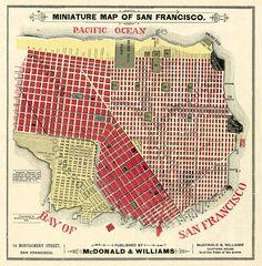 Antique San Francisco  city map Print 19 x 19  by AncientShades, $30.00