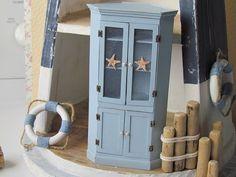 Dollhouse Miniature Corner Cabinet Beach by MiniaturesbyLorraine, $72.00