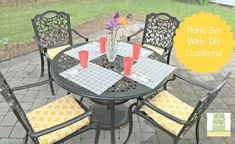 Beautify and outdoor patio set with DIY envelope cushion covers! Outdoor Chair Cushions, Patio Chairs, Outdoor Chairs, Outdoor Decor, Outdoor Ideas, French Dining Chairs, Raised Bed Garden Design, Diy Patio, Outdoor Dining