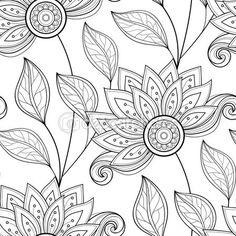 Černobílý abstraktní květinovým vzorem — Stock ilustrace #87273260