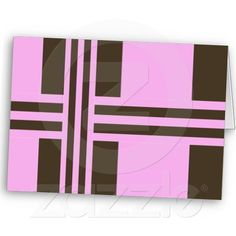 Pink and Chocolate Brown Stripes Greeting Card.