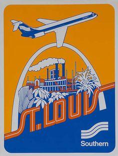 DP Vintage Posters - Southern Airways Original Travel Poster St Louis