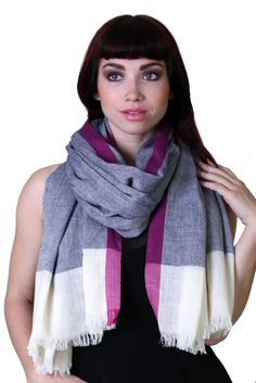 Women's Classic Herringbone Berry Selvedge Cotton Scarf / Shawl / Wrap at Amazon Women's Clothing store: