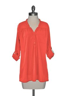 Button Front Tunic in Tomato