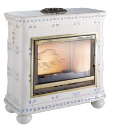 french blue and white tile cast iron stove Multi Fuel Stove, Cast Iron Stove, Backyard Cottage, White Tiles, White Wood, Invicta, New Homes, Kitchen Appliances, Blue And White