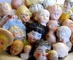 Bowl of Victorian/Edwardian doll heads