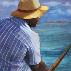 Original Fine Art Watercolor of Just Fishing. by sarahbuelldowling