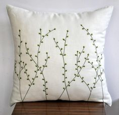 """Pussy Willow Throw  Pillow Cover- 18"""" x 18"""" Decorative Pillow Cover - Cream Linen with  Fresh Green Floral Embroidery. $23.00, via Etsy."""