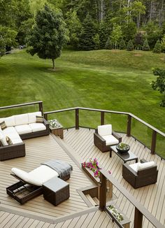 Your deck should be an outdoor room that is an extension of your home. This deck features TimberTech decking in Pecan with a Mocha accent from the Legacy Collection, which is built to outlast harsh weather and resist stains, scratches, mold and moisture damage.