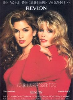 c4810babb7a3 blow outs   red lips on cindy crawford   claudia schiffer