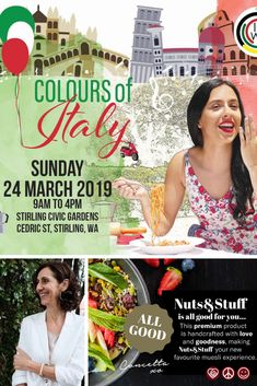 "Looking for a fun family event this weekend? Don't miss the Italian extravaganza at ""COLOURS OF ITALY"". Look out for Nuts & Stuff, we'll be there giving away free recipes and muesli tastings, cooking Sicilian peasant style food from our cookbook ""Cugini in Cucina"".  The event will be hosted at Stirling Gardens (in Stirling) on Cedric Street. All day long on Sunday, 24th of March. FREE ENTRY! Cooking Sessions with Concetta on the Main Stage at 10:00 am and 2:00 pm. So, come on down! Free Entry, Stirling, Muesli, Sicilian, Facebook Sign Up, Free Food, Free Recipes, Stage, Sunday"