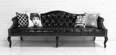 Mademoiselle Sofa in Faux Black Croc Patent Leather by ModShop