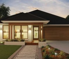 The stunning Martell is all about fine living made easy. Explore McDonald Jones Homes for Australian home designs to exceed your expectations at every turn. Contemporary House Plans, Modern House Design, Modern Bungalow Exterior, Mcdonald Jones Homes, Front House Landscaping, Front Yard Design, Storey Homes, Australian Homes, Facade House