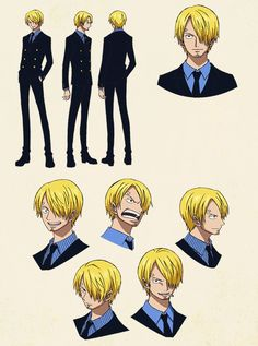 Sanji color sheets, Character design, Official reference, Settei