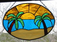 Tropical Stained Glass Sun Catcher/Panel  by HillCountryGlass